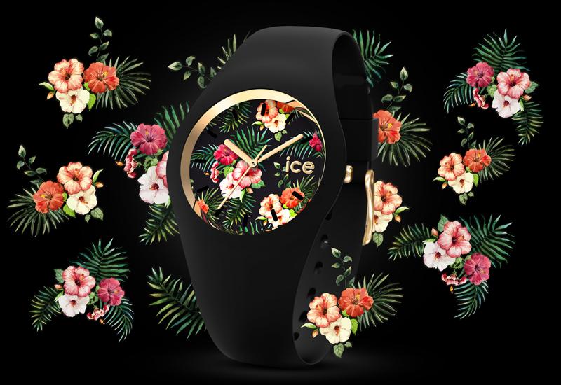 montre fleur exotique